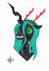 Size: 961x1371 | Tagged: safe, artist:assertiveshypony, queen chrysalis, changeling, changeling queen, pony, angry, antlers, bust, christmas changeling, drawing, female, portrait, reindeer antlers, rudolph the red nosed reindeer, simple background, solo, traditional art, white background