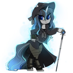 Size: 437x437 | Tagged: safe, artist:crimmharmony, oc, oc:frontier justice, oc:shadow spade, pony, unicorn, fallout equestria, armor, armored legs, aura, beauty mark, bipedal, black eyeshadow, blank, blank of rarity, blue eyes, clothes, commissioner:genki, detective, discharge, fallout equestria: kingpin, fedora, female, hat, magic, mane highlights, mare, messy mane, mutation, not rarity, pipboy, pipbuck, scar, shoes, simple background, solo, split-personality merge, swordstick, transparent background, trenchcoat, unicorn oc, wet mane