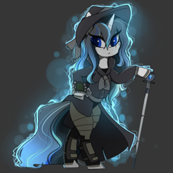Size: 331x331 | Tagged: safe, artist:crimmharmony, oc, oc:frontier justice, oc:shadow spade, pony, unicorn, fallout equestria, armor, armored legs, aura, beauty mark, bipedal, black eyeshadow, blank, blank of rarity, blue eyes, clothes, commissioner:genki, detective, discharge, fallout equestria: kingpin, fedora, female, gray background, hat, magic, mane highlights, mare, messy mane, mutation, not rarity, pipboy, pipbuck, scar, shoes, simple background, solo, split-personality merge, swordstick, trenchcoat, unicorn oc, wet mane