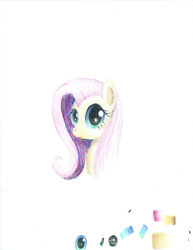 Size: 1483x1920 | Tagged: safe, artist:phat_guy, derpibooru exclusive, fluttershy, pony, 2019, bust, colored pencil drawing, coloured pencil drawing, female, gift art, looking at you, portrait, solo, traditional art