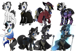 Size: 1920x1280 | Tagged: safe, artist:crimmharmony, oc, oc:shadow spade, pony, unicorn, fallout equestria, alcohol, armor, armored legs, aura, bags under eyes, bangs, beauty mark, bipedal, black eyeshadow, blank, blank flank, blank of rarity, blue dress, blue eyes, choker, clothes, collage, commissioner:genki, dead eyes, detective, detective rarity, discharge, fallout equestria: kingpin, fedora, female, glass, gold rings, gun, handgun, hat, holster, innocence lost, jewelry, magic, magic aura, mane highlights, mare, messy mane, ministry of awesome, ministry of image, moa stealth armor, mutation, necklace, not rarity, pipboy, pipbuck, pistol, power armor, progress, purple eyeshadow, raised hoof, revolver, scar, serious, serious face, shading, shoes, shy, simple background, sitting, smiling, solo, sophisticated as hell, sparkling blue dress, sparkling dress, split-personality merge, spots, stable 232, stable 232 overmare suit, standing, stool, swordstick, tail armor, telekinesis, tired, trenchcoat, unicorn oc, vault suit, weapon, wet mane, white background, wine, wine glass