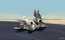 Size: 3600x2200   Tagged: safe, artist:andromailus, oc, original species, plane pony, pony, desert, grumman x-29, laying on stomach, looking at you, nasa, plane, solo