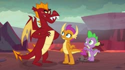 Size: 563x317 | Tagged: safe, screencap, garble, smolder, spike, dragon, sweet and smoky, spoiler:s09e09, brother and sister, dragon lands, female, lava, male, siblings