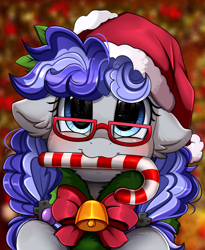 Size: 1446x1764 | Tagged: safe, artist:pridark, oc, oc only, oc:cinnabyte, earth pony, pony, adorkable, bell, blushing, candy, candy cane, christmas, cute, dork, earth pony oc, female, food, glasses, hat, holiday, looking at you, mare, mouth hold, part of a set, pridark's christmas ponies, santa hat, solo, wreath, ych result