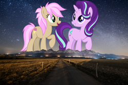 Size: 1500x1001 | Tagged: safe, artist:andoanimalia, artist:frownfactory, starlight glimmer, strawberry scoop, earth pony, pony, unicorn, duo, female, friendship student, giant pony, giantess, highrise ponies, irl, macro, mare, mountain, mountain range, night, photo, ponies in real life, scenery