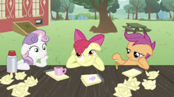 Size: 1219x682   Tagged: safe, artist:undeadponysoldier, edit, edited screencap, editor:undeadponysoldier, screencap, apple bloom, scootaloo, spike, sweetie belle, earth pony, pegasus, pony, unicorn, ponyville confidential, bored, cutie mark crusaders, female, filly, mug, notepad, paper, paper ball, pencil, thinking, when you see it