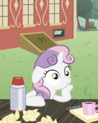 Size: 451x568   Tagged: safe, screencap, sweetie belle, pony, unicorn, ponyville confidential, coffee, cropped, cute, diasweetes, female, filly, floppy ears, image macro, meme origin, mug, notepad, ponyville schoolhouse, solo, sudden clarity sweetie belle, thinking