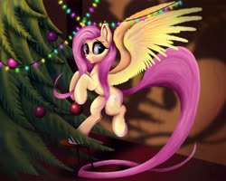 Size: 5000x4000 | Tagged: safe, artist:teridax63, fluttershy, pegasus, pony, christmas, christmas ball, christmas decoration, christmas lights, christmas tree, colored hooves, decorating, decoration, eyelashes, female, holiday, hoof hold, indoors, long tail, looking at you, mare, smiling, solo, spread wings, stool, stray strand, three quarter view, tree, wings