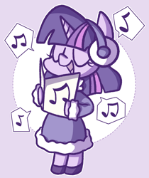 Size: 900x1069   Tagged: safe, artist:typhwosion, twilight sparkle, pony, abstract background, bipedal, caroling, christmas, clothes, coat, cute, earmuffs, eyes closed, female, holiday, mare, music notes, open mouth, pictogram, solo, speech bubble, twiabetes, winter