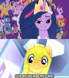 Size: 1280x1440 | Tagged: safe, edit, edited screencap, screencap, flash sentry, night light, owlowiscious, princess cadance, princess celestia, princess flurry heart, princess luna, shining armor, starlight glimmer, sunburst, sunset shimmer, thorax, twilight sparkle, twilight velvet, alicorn, changedling, changeling, pegasus, unicorn, equestria girls, equestria girls (movie), the last problem, spoiler:s09e26, cute, diasentres, female, glasses, king thorax, male, mare, older, older twilight, princess twilight 2.0, smiling, subverted meme, the magic of friendship grows, they forgot about me, twilight sparkle (alicorn), wall of tags, wings