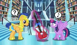 Size: 1024x604 | Tagged: safe, artist:silverbuller, flash sentry, twilight sparkle, alicorn, bookshelf, christmas, confused, crystal empire, guitar, hearth's warming, holiday, library, music notes, musical instrument, present, question mark, twilight sparkle (alicorn)
