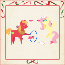 Size: 2000x2000 | Tagged: safe, anonymous artist, big macintosh, fluttershy, pony, prairie dog, series:12 days of hearth's warming, series:fm holidays, 12 days of christmas, border, candy, candy cane, christmas, cute, female, floating, fluttermac, food, hearth's warming, holiday, hoof hold, hoop, jumping, male, pointy ponies, shipping, shyabetes, sleeping, smiling, straight, texture, the flying prairinos