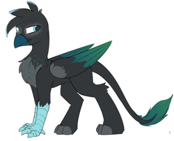 Size: 1270x1025 | Tagged: safe, artist:beardie, oc, oc only, oc:maximilian kohler, changeling, griffon, changeling oc, disguise, disguised changeling, leonine tail, male, simple background, solo, talons, white background