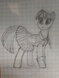 Size: 3120x4160 | Tagged: safe, artist:devyatyi9, twilight sparkle, pony, unicorn, clothes, female, graph paper, mare, photo, pleated skirt, school uniform, skirt, solo, traditional art, unicorn twilight