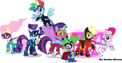 Size: 3398x1765 | Tagged: safe, artist:vector-brony, applejack, fili-second, fluttershy, humdrum, masked matter-horn, mistress marevelous, pinkie pie, radiance, rainbow dash, rarity, saddle rager, spike, twilight sparkle, zapp, alicorn, dragon, pony, female, looking at you, male, mane seven, mane six, mare, power ponies, simple background, text, transparent background, twilight sparkle (alicorn), vector
