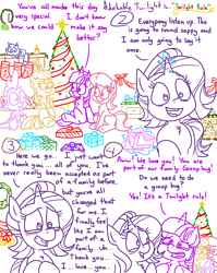 Size: 4779x6013 | Tagged: safe, artist:adorkabletwilightandfriends, lily, lily valley, moondancer, spike, starlight glimmer, twilight sparkle, oc, oc:pinenut, alicorn, cat, dragon, earth pony, pony, unicorn, comic:adorkable twilight and friends, adorkable, adorkable twilight, bells, candle, card, christmas, christmas lights, christmas presents, christmas sweater, christmas tree, christmas village, clothes, comic, crying, cute, dork, envelopes, family, friendship, garland, glowing horn, hanukkah, happy, heartfelt, hearth's warming, hearth's warming eve, holiday, horn, hug, love, magic, merry christmas, mistletoe, nativity, present, relationship, sitting, slice of life, sweater, telekinesis, tree, twilight sparkle (alicorn), wreath