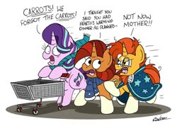 Size: 1024x728 | Tagged: safe, artist:bobthedalek, starlight glimmer, stellar flare, sunburst, pony, unicorn, blaze (coat marking), clothes, female, male, mother and son, mothers gonna mother, panic, running, scarf, shopping cart, simple background, socks (coat marking), sunburst is not amused, that pony sure does love plans, unamused, white background