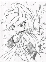 Size: 2550x3377 | Tagged: safe, artist:petanoprime, applejack, earth pony, semi-anthro, apple, clothes, female, food, freckles, gun, hat, hoof hold, lineart, monochrome, signature, text, traditional art, tree, weapon