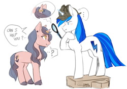Size: 1850x1300 | Tagged: safe, artist:varllai, oc, oc:brainstorm, pony, unicorn, female, magic, magnifying glass, male, ring, thinking