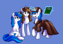 Size: 2874x2005 | Tagged: safe, artist:mati0la, oc, oc only, oc:brainstorm, oc:mind, oc:white storm, pony, unicorn, blue background, brother and sister, clothes, coat, detective, female, glasses, hat, magic, male, mother and child, mother and daughter, mother and son, notebook, siblings, simple background