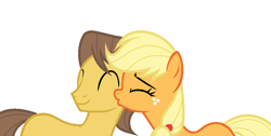 Size: 1108x560 | Tagged: safe, artist:northgirl15, applejack, caramel, carajack, female, kiss on the cheek, kissing, male, shipping, straight