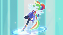 Size: 640x360 | Tagged: safe, screencap, rainbow dash, equestria girls, forgotten friendship, spoiler:eqg series, awesome, beautiful, falling, falling back, ponied up, solo, super ponied up, transformation