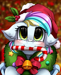 Size: 1446x1764 | Tagged: safe, artist:pridark, oc, oc:eclaircie clearing, bat pony, pony, bat pony oc, bell, blushing, candy, candy cane, christmas, commission, cute, female, food, hat, heterochromia, holiday, mare, mouth hold, ocbetes, pridark's christmas ponies, santa hat, solo, wreath, ych result