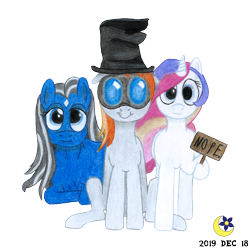 Size: 3000x3000 | Tagged: safe, artist:moon flower, derpibooru exclusive, oc, oc only, oc:darkest hour, oc:moon flower, oc:noble pinions, alicorn, earth pony, pony, 2020 community collab, derpibooru community collaboration, 2019, clothes, colored pencil drawing, coloured pencil drawing, female, floppy ears, ghastly gibus, goggles, hat, hoof hold, looking at you, lying, mare, nope, pyrovision goggles, raised foreleg, raised leg, sign, silly, silly face, simple background, sitting, smiling, standing, star (coat marking), team fortress 2, torn clothes, traditional art, transparent background, trio, wavey hair