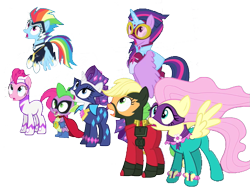 Size: 823x620 | Tagged: safe, edit, edited screencap, screencap, applejack, fili-second, fluttershy, humdrum, masked matter-horn, mistress marevelous, pinkie pie, radiance, rainbow dash, rarity, saddle rager, spike, twilight sparkle, zapp, alicorn, power ponies (episode), background removed, looking up, mane seven, mane six, not a vector, power ponies, simple background, surprised, transparent background, twilight sparkle (alicorn), worried
