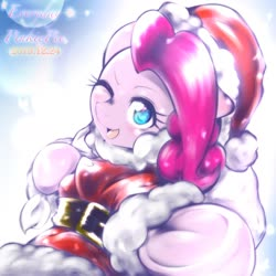 Size: 1536x1536   Tagged: safe, artist:kurogewapony, pinkie pie, earth pony, pony, christmas, clothes, costume, cute, diapinkes, female, hat, holiday, mare, one eye closed, santa costume, santa hat, solo, wink