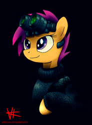 Size: 1328x1800 | Tagged: safe, alternate version, artist:unitoone, scootaloo, pegasus, pony, black background, bust, clothes, night vision goggles, simple background, solo, stalkerloo, sweater, turtleneck