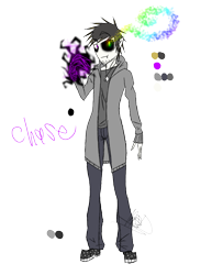 Size: 888x1150   Tagged: safe, artist:didun850, oc, oc only, oc:chase, human, bags under eyes, black sclera, clothes, glowing hands, heterochromia, humanized, male, signature, simple background, sombra eyes, transparent background