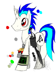 Size: 888x1150   Tagged: safe, artist:didun850, oc, oc only, oc:quake plosion, pony, unicorn, fallout equestria, bags under eyes, jewelry, male, necklace, pipbuck, signature, simple background, smiling, solo, stallion, sword, transparent background, weapon