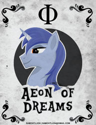 Size: 2551x3301 | Tagged: safe, artist:samoht-lion, oc, oc only, oc:aeon of dreams, pony, unicorn, bust, horn, male, smiling, solo, stallion, text, unicorn oc