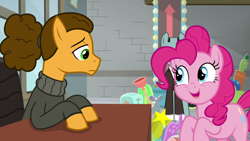 Size: 1920x1080 | Tagged: safe, screencap, cheese sandwich, pinkie pie, sans smirk, earth pony, the last laugh, spoiler:s09e14, bubbly, cactus, cheerful, clothes, cute, cutie mark, duo focus, empty eyes, excited, female, frown, male, mare, open mouth, plunger, stallion, sweater, toaster