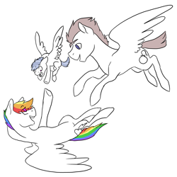 Size: 3300x3300 | Tagged: safe, artist:phobicalbino, rainbow dash, oc, oc:daredevil, oc:thunder tantrum, pegasus, pony, canon x oc, colt, eye clipping through hair, family, female, flying, foal, male, mare, offspring, parent:oc:daredevil, parent:rainbow dash, parents:canon x oc, partial color, shipping, simple background, stallion, straight, trio, white background