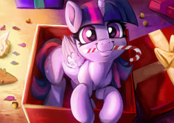 Size: 2200x1555 | Tagged: safe, artist:fidzfox, twilight sparkle, alicorn, pony, :3, box, c:, candy, candy cane, christmas, cookie, cute, daaaaaaaaaaaw, female, fidzfox is trying to murder us, food, happy, holiday, leaning, looking at you, looking up, mare, mouth hold, nom, pony in a box, present, sitting, smiling, solo, twiabetes, twilight sparkle (alicorn), weapons-grade cute, wing fluff