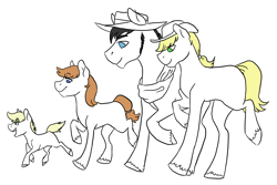 Size: 3300x2205 | Tagged: safe, artist:phobicalbino, applejack, oc, oc:dusty, oc:orchard blossom, oc:rain buck, earth pony, pony, canon x oc, colt, family, female, filly, foal, male, mare, missing cutie mark, offspring, parent:applejack, parent:oc:rain buck, parents:canon x oc, partial color, quartet, shipping, simple background, stallion, straight, walking, white background