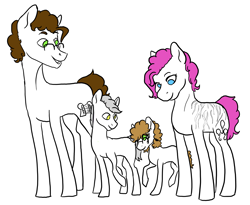 Size: 3300x2707 | Tagged: safe, artist:phobicalbino, cheese sandwich, pinkie pie, oc, oc:granite harrison rock, oc:panini patricia pie, earth pony, pony, cheesepie, colt, family, female, filly, foal, glasses, half-siblings, male, mare, offspring, parent:cheese sandwich, parent:pinkie pie, parent:pokey pierce, parents:cheesepie, parents:pokeypie, partial color, quartet, scar, shipping, simple background, stallion, straight, white background