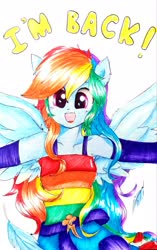 Size: 2237x3554 | Tagged: safe, artist:liaaqila, rainbow dash, human, equestria girls, belt, clothes, cute, dashabetes, dress, eared humanization, feather, female, humanized, open mouth, ponied up, simple background, solo, traditional art, white background, winged humanization, wings