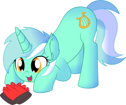 Size: 1024x854 | Tagged: safe, artist:cyanlightning, lyra heartstrings, pony, unicorn, .svg available, absurd resolution, clothes, cute, ear fluff, female, gloves, hand, lyrabetes, mare, open mouth, simple background, sitting, smiling, solo, that pony sure does love hands, that pony sure does love humans, transparent background, vector