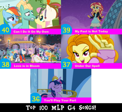 Size: 1704x1560 | Tagged: safe, artist:don2602, edit, edited screencap, screencap, adagio dazzle, applejack, bruce mane, caesar, count caesar, fine line, fluttershy, lyrica lilac, maxie, princess cadance, rainbow dash, rarity, royal ribbon, shining armor, sunset shimmer, twilight sparkle, twinkleshine, zephyr breeze, alicorn, earth pony, pegasus, pony, unicorn, a canterlot wedding, equestria girls, flutter brutter, my past is not today, rainbow rocks, twilight's kingdom, balcony, balloon, bust, can i do it on my own, clothes, crown, dress, eyes closed, hoof in chest, jacket, jewelry, looking up, love is in bloom, multiple characters, reaching out, regalia, top 100 mlp g4 songs, twilight sparkle (alicorn), under our spell, wedding dress, you'll play your part