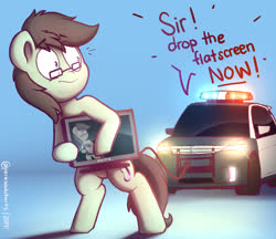 Size: 2028x1750 | Tagged: safe, artist:perezadotarts, oc, oc:paradox, earth pony, pony, blue background, car, cutie mark, droste effect, flatscreen, glasses, light, male, police, police car, pony (sony), recursion, simple background, solo, stallion, television, text, vehicle
