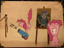 Size: 4032x3024 | Tagged: safe, artist:short tale, maud pie, pinkie pie, acrylic painting, comic, easel, monalisa, painting, party cannon, pyrography, smiling, splatter, traditional art, woodenbox