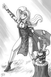 Size: 1000x1489 | Tagged: safe, artist:johnjoseco, angel bunny, fluttershy, human, armor, breasts, busty fluttershy, cleavage, humanized, monochrome, sketch, tree stump, warhammer (game)