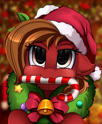 Size: 1446x1764 | Tagged: safe, artist:pridark, oc, oc:cherry, earth pony, pony, bell, blushing, candy, candy cane, christmas, commission, cute, female, food, hat, holiday, mare, mouth hold, ocbetes, pridark's christmas ponies, santa hat, solo, wreath, ych result