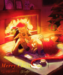 Size: 2480x2950 | Tagged: safe, artist:sadistjolt, discord, fluttershy, draconequus, pegasus, book, christmas, christmas tree, cup, discoshy, female, fireplace, gift wrapped, hat, holiday, male, one eye closed, present, santa hat, shipping, sleeping, straight, teacup, tree, warm