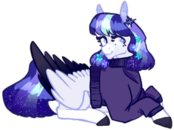 Size: 774x580   Tagged: artist needed, safe, oc, oc only, oc:celeste, pegasus, pony, clothes, female, looking at you, mare, prone, simple background, sweater, transparent background