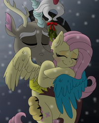 Size: 7500x9334 | Tagged: safe, artist:faitheverlasting, discord, fluttershy, draconequus, pegasus, absurd resolution, christmas, discoshy, eyes closed, female, holiday, hug, male, milestone, mistletoe, prehensile tail, shipping, smiling, snow, snowfall, straight, tail hold