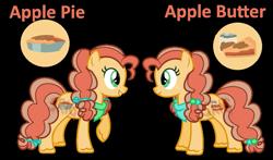 Size: 907x533 | Tagged: safe, artist:superrosey16, oc, oc:apple butter (superrosey16), oc:apple pie (superrosey16), earth pony, pony, base used, female, mare, offspring, parent:applejack, parent:caramel, parents:carajack, simple background, transparent background, twins